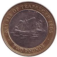 Трафальгарское сражение. Монета 2 фунта. 2006 год, Гибралтар.