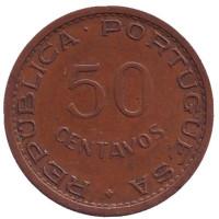 Монета 50 сентаво. 1973 год. Мозамбик в составе Португалии.