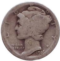 Меркурий. Монета 10 центов. 1916 год, США. Без обозначения монетного двора.
