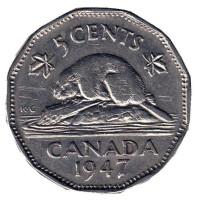 Бобр. Монета 5 центов. 1947 год, Канада. (Без отметки монетного двора)