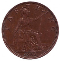Монета 1 фартинг. 1936 год, Великобритания.