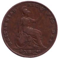 Монета 1 фартинг. 1842 год, Великобритания.
