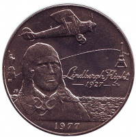 Чарльз Линдберг. 50 лет первому перелёту через Атлантический океан. Монета 1 тала. 1977 год, Самоа.