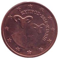Монета 1 цент. 2014 год, Кипр.