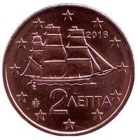 Монета 2 цента. 2016 год, Греция.
