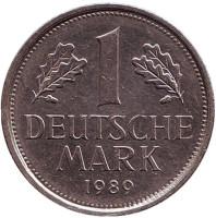 Монета 1 марка. 1989 год (J), ФРГ.