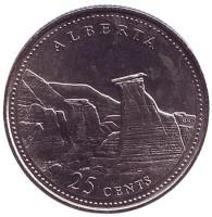 Альберта. 125 лет Конфедерации Канады. Монета 25 центов. 1992 год, Канада.