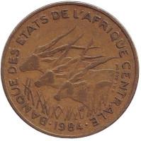 Африканские антилопы. (Западные канны). Монета 25 франков. 1984 год, Центральные Африканские Штаты.