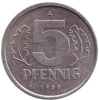 Монета 5 пфеннигов. 1988 год, ГДР.