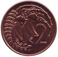 Цветки куаваи. Монета 2 цента. 1969 год, Новая Зеландия. BU.