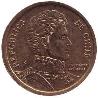 Бернардо О'Хиггинс. Монета 10 песо. 2012 год, Чили.