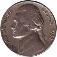 Джефферсон. Монтичелло. Монета 5 центов. 1952 год, США.