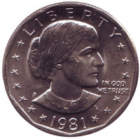 Сьюзен Энтони. Монета 1 доллар, 1981 год, США. Монетный двор S.