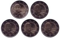 100 лет со дня рождения Гельмута Шмидта. Набор из 5 монет разных монетных дворов. 2 евро. 2018 год, Германия.