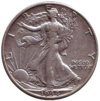 Шагающая свобода. Монета 50 центов. 1944 год (D), США.