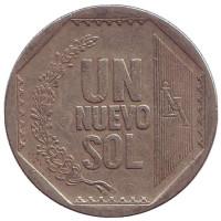 Монета 1 новый соль. 2002 год, Перу.