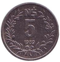 Монета 5 новых песо. 1989 год, Уругвай.