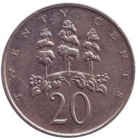 Монета 20 центов. 1989 год, Ямайка.