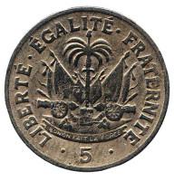 Монета 5 сантимов. 1953 год, Гаити.