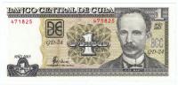 Банкнота 1 песо. 2003 год, Куба.