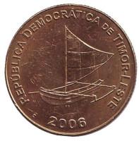 Парусное судно. Монета 25 сентаво. 2006 год, Восточный Тимор.