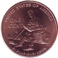 Юность Линкольна. 1 цент (D), США, 2009 год.