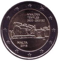 Храм Мнайдры. Доисторические места Мальты. Монета 2 евро. 2018 год, Мальта. (Без отметки монетного двора на аверсе)