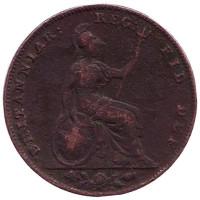 Монета 1 фартинг. 1850 год, Великобритания.