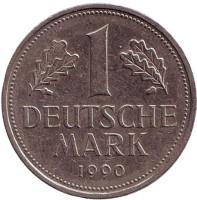 Монета 1 марка. 1990 год (A), ФРГ.