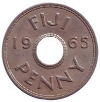 Монета 1 пенни. 1965 год, Фиджи.