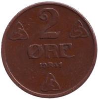 Монета 2 эре. 1931 год, Норвегия.