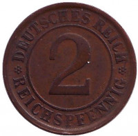 Монета 2 рейхспфеннига. 1925 год (D), Веймарская республика.