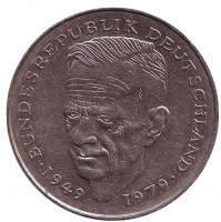 Курт Шумахер. Монета 2 марки. 1979 год (J), ФРГ. Из обращения.