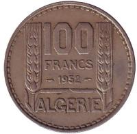 Монета 100 франков. 1952 год, Алжир.