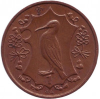 Хохлатый баклан. Монета 1 пенни. 1985 год, Остров Мэн. (AA)