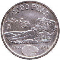 """250 лет со дня рождения Франсиско Гойя. """"Маха одетая"""". Монета 2000 песет. 1996 год, Испания."""