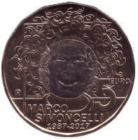 30 лет со дня рождения Марко Симончелли. Монета 5 евро. 2017 год Сан-Марино.
