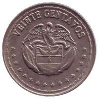Монета 20 сентаво. 1959 год, Колумбия.
