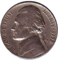 Джефферсон. Монтичелло. Монета 5 центов. 1952 год (D), США.