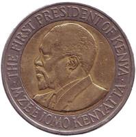 Джомо Кениата - первый президент Кении. Монета 20 шиллингов, 2009 год, Кения.