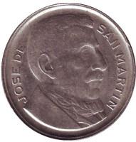 Генерал Хосе де Сан-Мартин. Монета 10 сентаво. 1953 год, Аргентина.