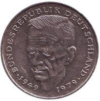 Курт Шумахер. Монета 2 марки. 1990 год (F), ФРГ.