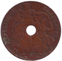 Монета 1 цент. 1930 год (A), Французский Индокитай.