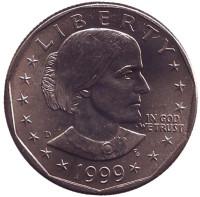Сьюзен Энтони. Монета 1 доллар, 1999 год, США. Монетный двор D.