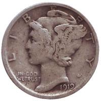 Меркурий. Монета 10 центов. 1919 год, США. Без обозначения монетного двора.