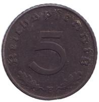 Монета 5 рейхспфеннигов. 1941 год (E), Третий Рейх (Германия).