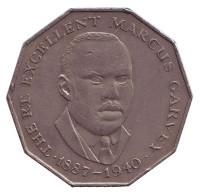 Маркус Гарви - национальный герой. Монета 50 центов. 1986 год, Ямайка.