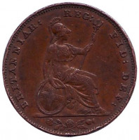 Монета 1 фартинг. 1853 год, Великобритания.