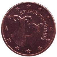 Монета 5 центов. 2014 год, Кипр.