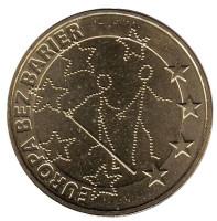 Европа без границ (100-летие Общества слепых ). Монета 2 злотых, 2011 год, Польша.